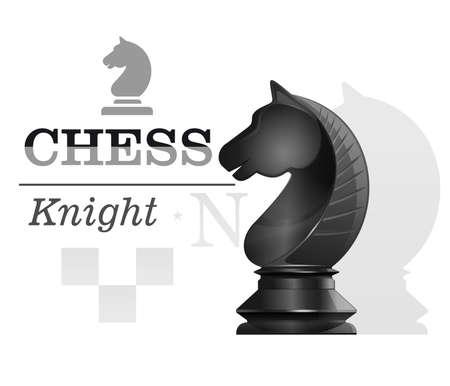Black chess knight. Concept design. Vector icon Illustration