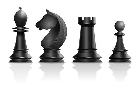 Black chess pieces bishop, knight, rook, pawn