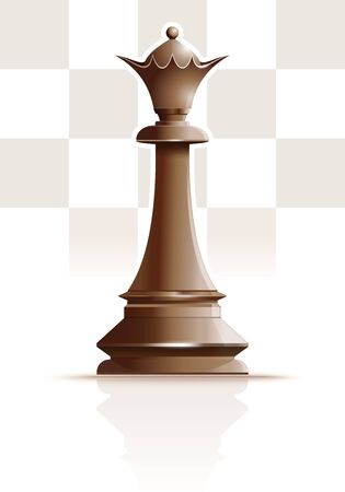 Ivory White Queen on the background of the chessboard silhouette. Chess concept design. Vector illustration