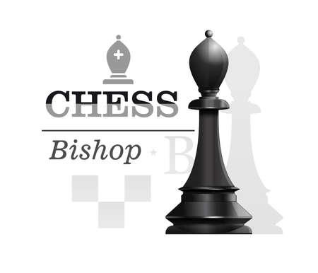 Black Bishop. Chess concept design. Vector icon Stock Illustratie