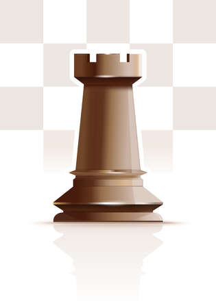 White chess figure rook. Realistic vector icon