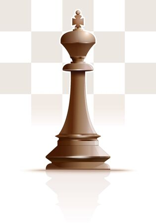 White Ivory King. Chess King. Chess piece. Chess king against the background of a chessboard. Vector illustration
