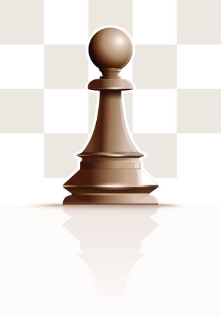 White chess figure pawn on a background of chessboard cells. White Ivory Pawn. Chess piece Pawn. Realistic vector illustration Stock Illustratie