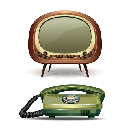 Retro TV and vintage dial telephone vector icons set. Realistic vector illustrations