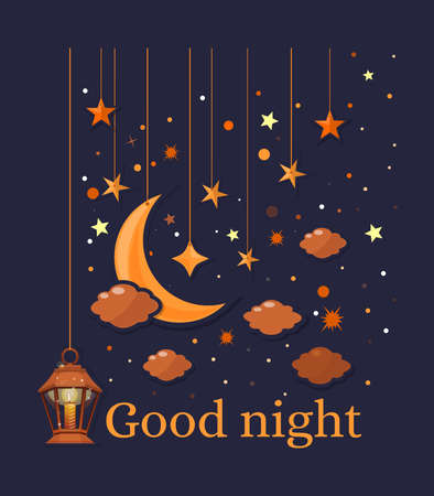 Good night. Sleeping time design with crescent moon, stars and lamp with a candle. Vector illustration