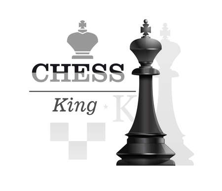 Black King on the background of the chessboard silhouette. Chess concept design. Vector illustration Stock Illustratie
