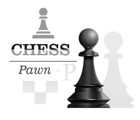 Black pawn on the background of the chessboard silhouette. Chess concept design. Vector illustration