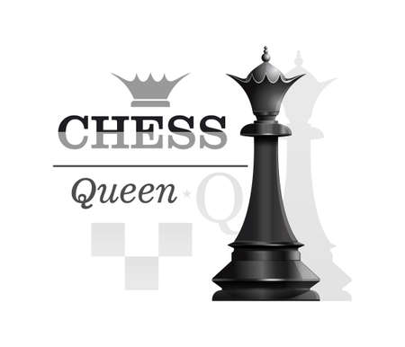 Black Queen on the background of the chessboard silhouette. Chess concept design. Vector illustration Stock Illustratie