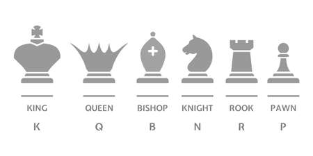 Chess icons set is isolated on white. Stylized silhouettes of chess pieces - king, queen, bishop, knight, rook, pawn. Vector illustration