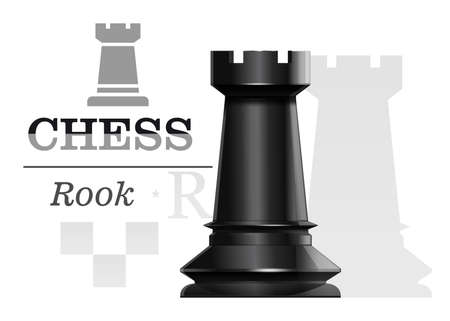 Black chess rookon the background of the chessboard silhouette. Chess concept design. Vector illustration Stock Illustratie