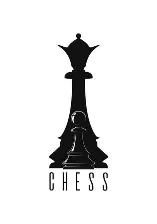 Chess logo concept design. Black pawn against the background of the black queen. Black and white chess symbol. Vector illustration isolated on white