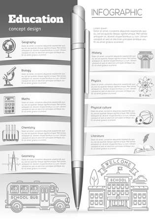 Education and learning. Collection of symbols icons depicting various sciences - geography, biology, mathematics, chemistry, history, physics, physical education. Vector illustration