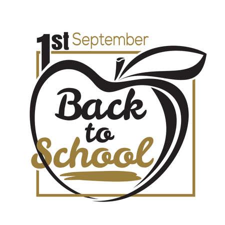 Back to school lettering card. 1st September. Vector illustration Stock Illustratie