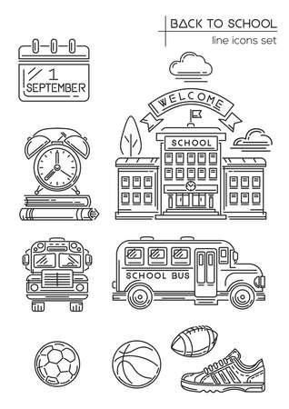 Back to school. Line icon set. First September. Welcome to school. School and Education line icons collection. Vector illustration Stock Illustratie