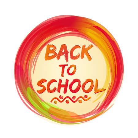 Back to school lettering  icon. Greeting inscription. Stylized watercolor. Vector illustration
