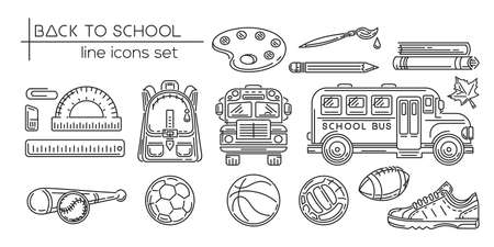 Back to school line icon set. Education, learning and school. Black and white symbol collection. Vector illustration Stock Illustratie