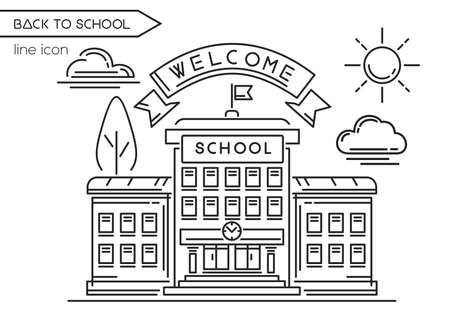 School building line  design. Back to school. Welcome to school. Black and white school icon. Vector illustration on white background