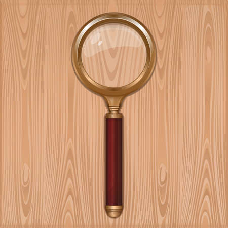 Magnifying glass on a wooden background. Gold magnifier with redwood handle. Loupe. Reading-glass. Realistic vector illustration