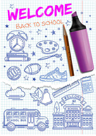 Welcome back to school. School icons set. Collection of icons on the theme of the school hand-drawn on a notebook sheet. Vector illustration