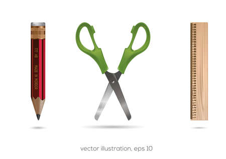 School and office icons set. School and office accessories. Pencils, rulers, scissors. Vector illustration
