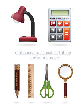 Stationery for school and office. School supplies. Cartoon icons set. Vector illustration