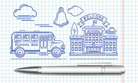 Welcome back to school. School bus pulls up to the school building. The stylized image of a ballpoint pen. Vector illustration