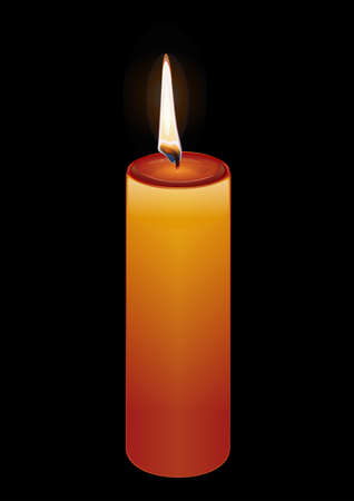 Burning candle on a black background. Vector illustration