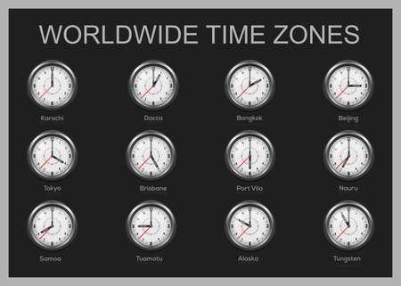 Clocks showing international time. World time zones