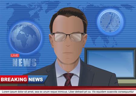 Breaking news design with TV presenter news anchor