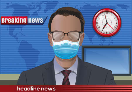 News presenter with glasses and a medical mask Stock Illustratie