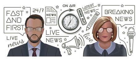 Breaking news concept design. News and journalism Stock Illustratie