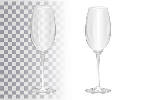Champagne glass. Realistic image of a glass goblet