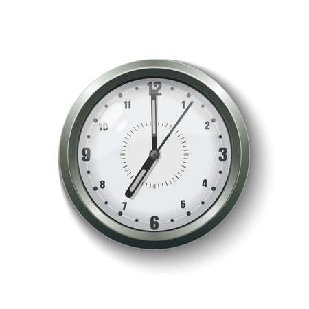 Round gray wall clock for home and office