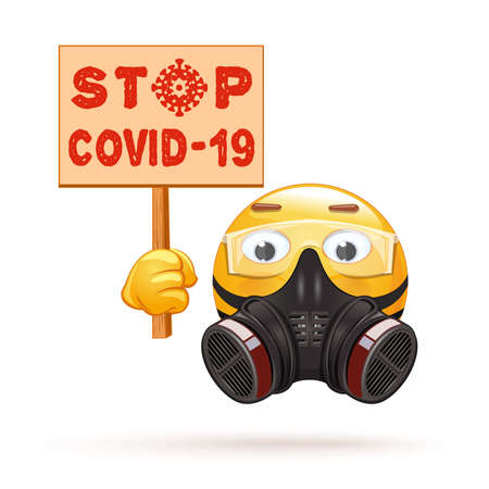 Emoji in a respirator and protection glasses Stock Illustratie