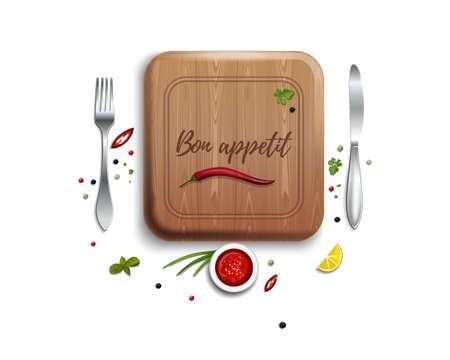 Bon appetit. Kitchen concept design. Vector icon