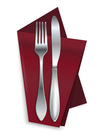 Knife with fork on a red napkin