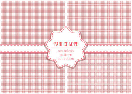 Blush pink classic tablecloth pattern set. Vector