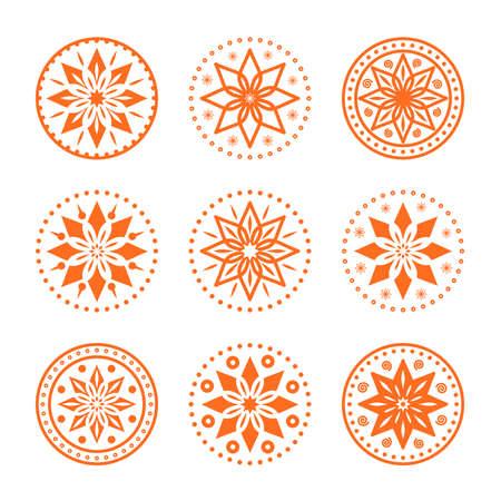 Circular ornaments set for design. Vector pattern
