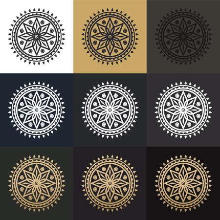 Oriental pattern. Colored mandalas. Circular ornaments set Stock Illustratie