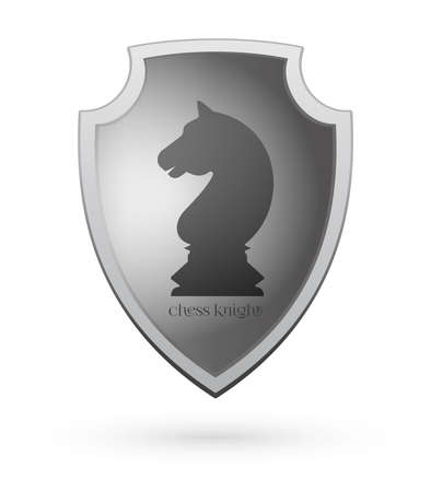 Chess knight on a shield. Chess concept design