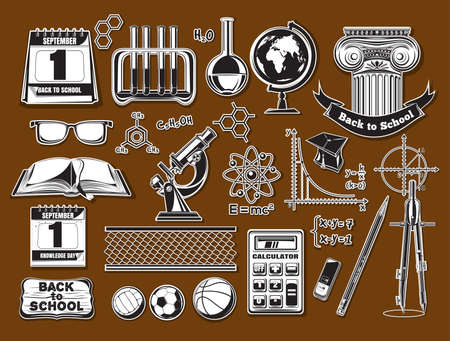 Back to school icons in a retro style