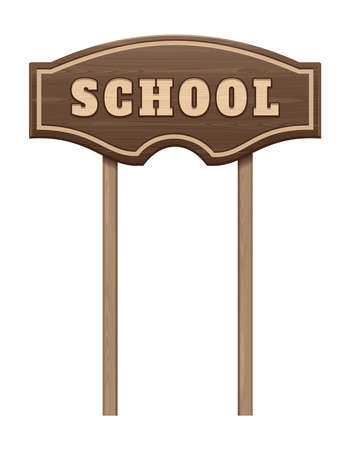 Wooden board pointer with the inscription school
