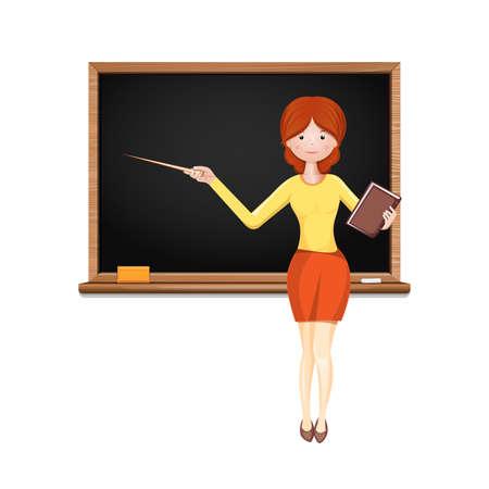 Cute female teacher on a blackboard background Vetores