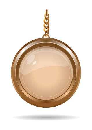 Gold medallion on a gold chain. Round keychain Ilustração