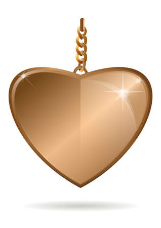 Gold pendant in the form of heart on a gold chain Ilustração