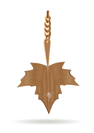 Gold pendant in the form of a maple leaf Ilustração