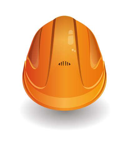 Working orange helmet, hard hat logo icon