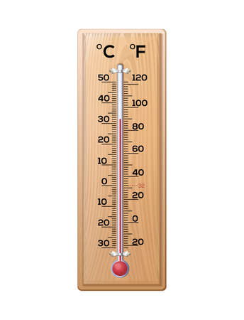 Thermometer to measure the temperature of the air on a wooden base