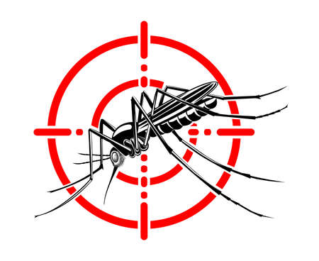 Mosquito in red crosshairs. Insecticide. Stop mosquito Vecteurs