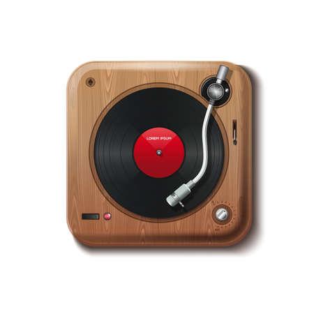 Vintage record vinyl. Record player in retro style